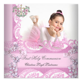 Girl First Holy Communion Lace Pink Photo 5.25x5.25 Square Paper Invitation Card