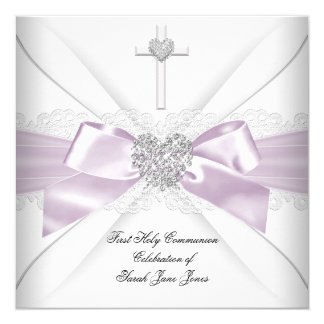 Girl First Holy Communion Lilac Pink Silver Heart 5.25x5.25 Square Paper Invitation Card