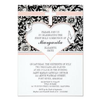 girl first holy communion pink custom invitations