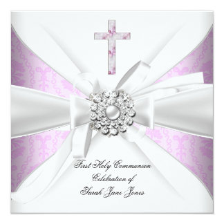 Girl First Holy Communion Pink Damask White Silver 5.25x5.25 Square Paper Invitation Card