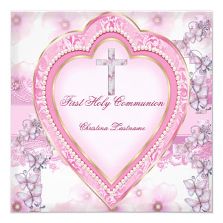 Girl First Holy Communion Pink Heart 5.25x5.25 Square Paper Invitation Card