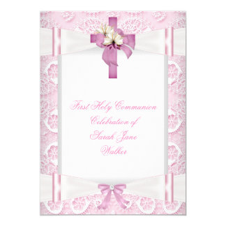 Girl First Holy Communion Pink Lace Bow White 4 5x7 Paper Invitation Card