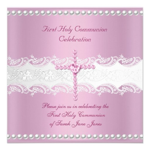 Girl First Holy Communion Pink Lace Pink Pearl Custom Announcement