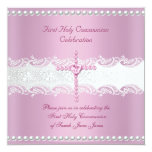 """Girl First Holy Communion Pink Lace Pink Pearl 5.25"""" Square Invitation Card"""