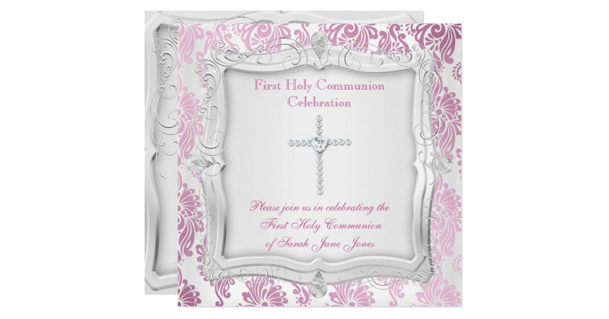 Girl First Holy Communion Pink Silver Cross Invitation