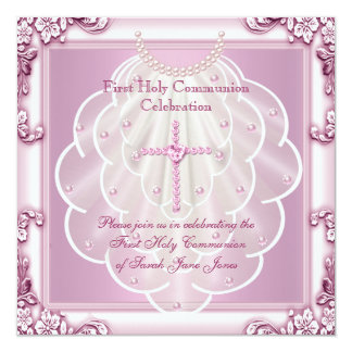Girl First Holy Communion Pink Veil Pink Cross Card