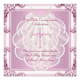 Girl First Holy Communion Pink Veil Pink Cross Custom Invites