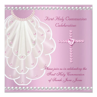 Girl First Holy Communion Pink Veil Pink Pearl 5.25x5.25 Square Paper Invitation Card