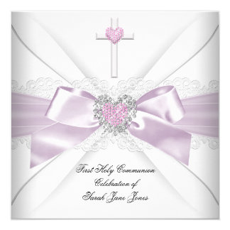 Girl First Holy Communion Pink White Heart Order Card
