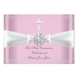 Girl First Holy Communion pink White Silver 3.5x5 Paper Invitation Card