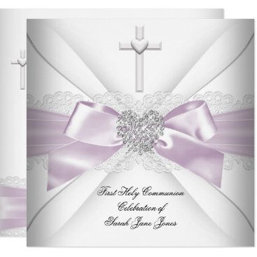 Valentines Themed Girl First Holy Communion Pink White Silver Heart Card