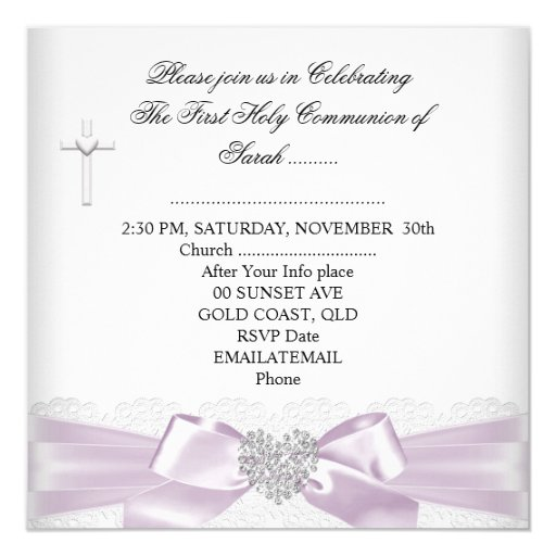 Girl First Holy Communion Pink White Silver Heart Custom Announcements (back side)