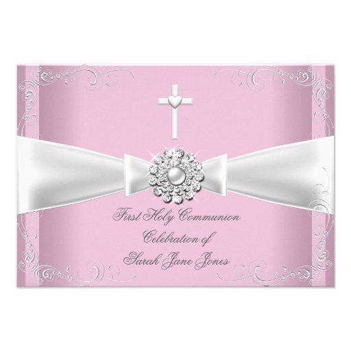 Girl First Holy Communion pink White Silver Invitations