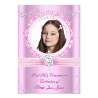 Girl First Holy Communion Pretty Pink Photo Personalized Invite