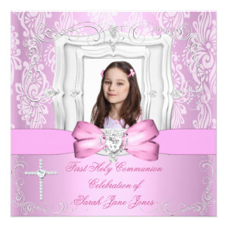 Girl First Holy Communion Pretty Pink Photo Personalized Announcements