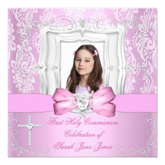 Girl First Holy Communion Pretty Pink Photo 5.25x5.25 Square Paper Invitation Card