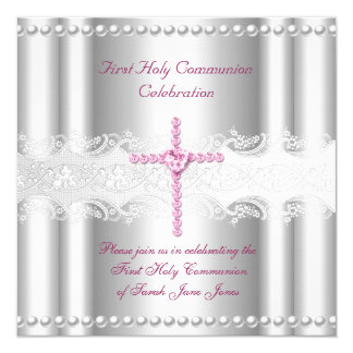 Girl First Holy Communion Silver Lace Pink Pearl Card