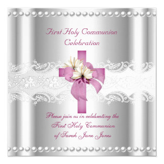 Girl First Holy Communion Silver Lace Pink Pearl Invitation