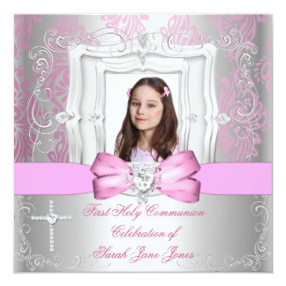 Girl First Holy Communion Silver Pink Photo Card
