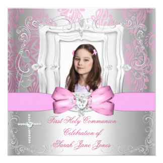 Girl First Holy Communion Silver Pink Photo Personalized Announcements