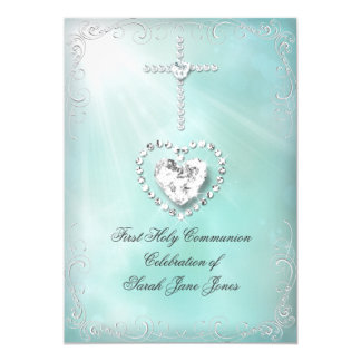 Girl First Holy Communion Teal Blue Heavenly 5x7 Paper Invitation Card