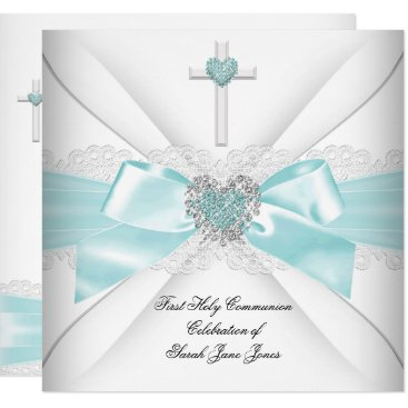 Valentines Themed Girl First Holy Communion Teal White Heart Card