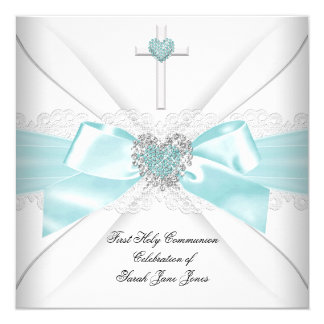 Girl First Holy Communion Teal White Heart 5.25x5.25 Square Paper Invitation Card