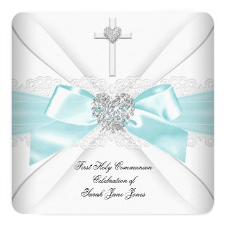 Girl First Holy Communion Teal White Silver Heart 5.25x5.25 Square Paper Invitation Card