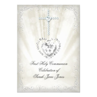 Girl First Holy Communion White Beige Heavenly 2 Card