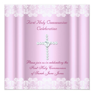 Girl First Holy Communion White Lace Pink Cross 5.25x5.25 Square Paper Invitation Card