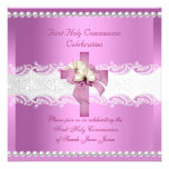 Girl First Holy Communion White Lace Pink Pearl Announcement
