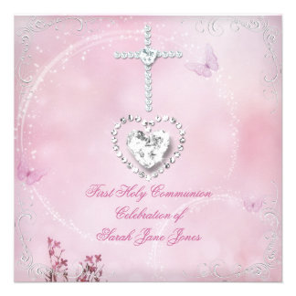 Girl First Holy Communion White Pink butterfly Invite