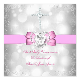 Girl First Holy Communion White Pink Card