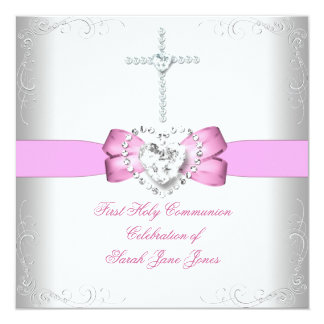 Girl First Holy Communion White Pink Personalized Invite