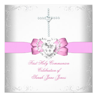 Girl First Holy Communion White Pink 5.25x5.25 Square Paper Invitation Card