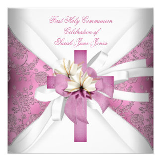 Girl First Holy Communion White Pink Invitations