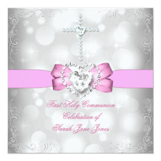 Girl First Holy Communion White Pink Invites