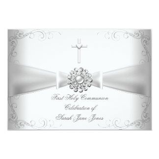 Girl First Holy Communion White Silver 3.5x5 Paper Invitation Card