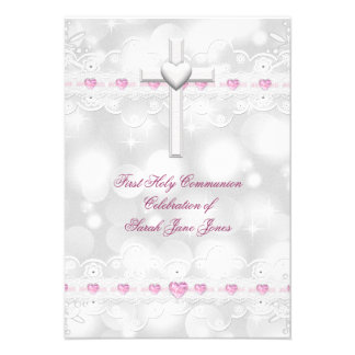 Girl First Holy Communion White Silver Personalized Invitation