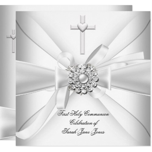 Girl First Holy Communion White Silver Invitation