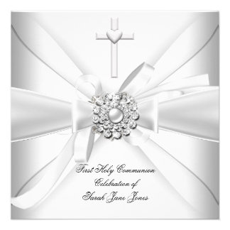 Girl First Holy Communion White Silver Invite