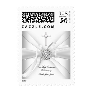 Girl First Holy Communion White Silver Postage
