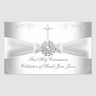 Girl First Holy Communion White Silver Rectangular Sticker
