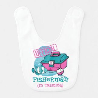Girl Fisherman In Training Baby Bib
