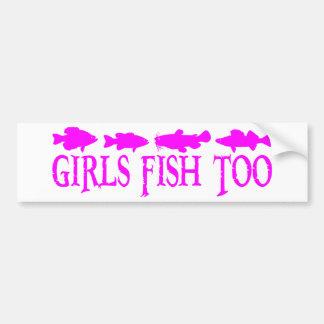 GIRL FISHING BUMPER STICKER
