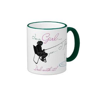 Girl Fishing Deal with it Fishing Gear Mugs