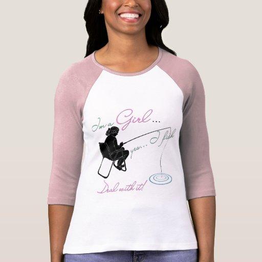 Girl Fishing Deal with it Fishing Gear T-Shirt