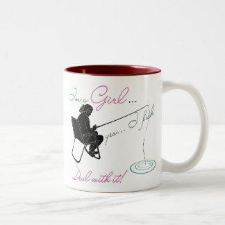 Girl Fishing Deal with it Fishing Gear Two-Tone Coffee Mug