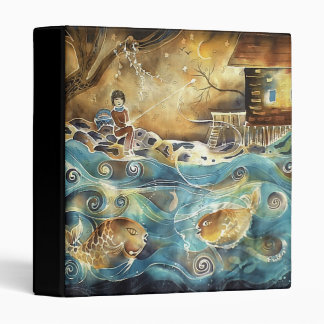 Girl Fishing on the Bay Silk Painting Binders
