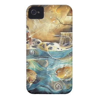 Girl Fishing on the Bay Silk Painting iPhone 4 Cover